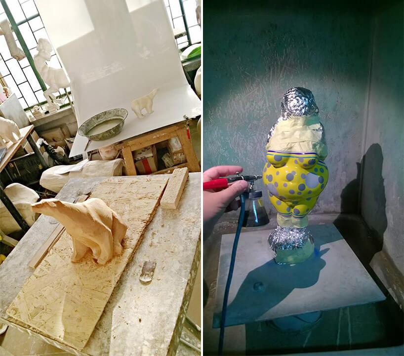 rzeźby na różnych etapach tworzenia