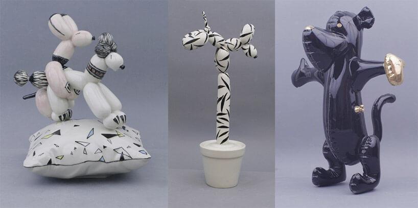zestawienie ceramicznych rzeźb zwierząt