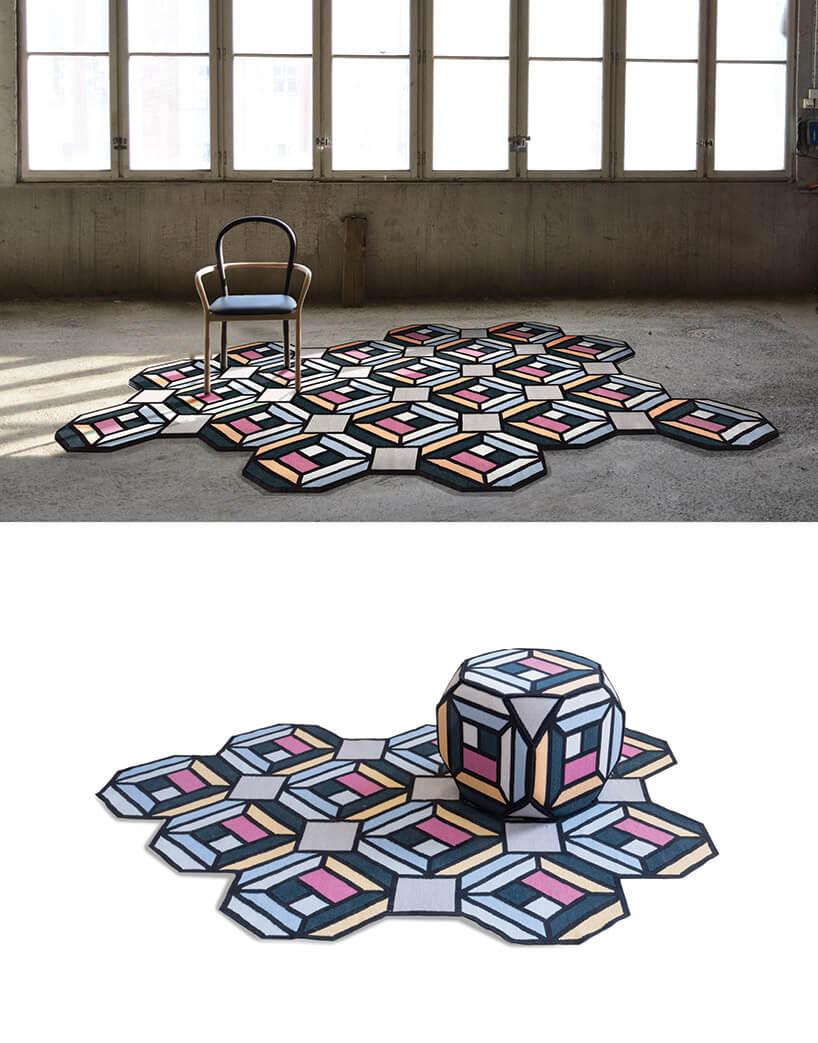 modułowy geometryczny dywan onie regularnych brzegach