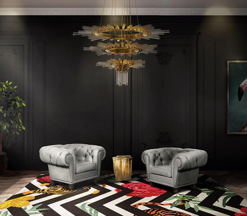 biało-brązowy dywan wzygzaki wciemnym pokoju