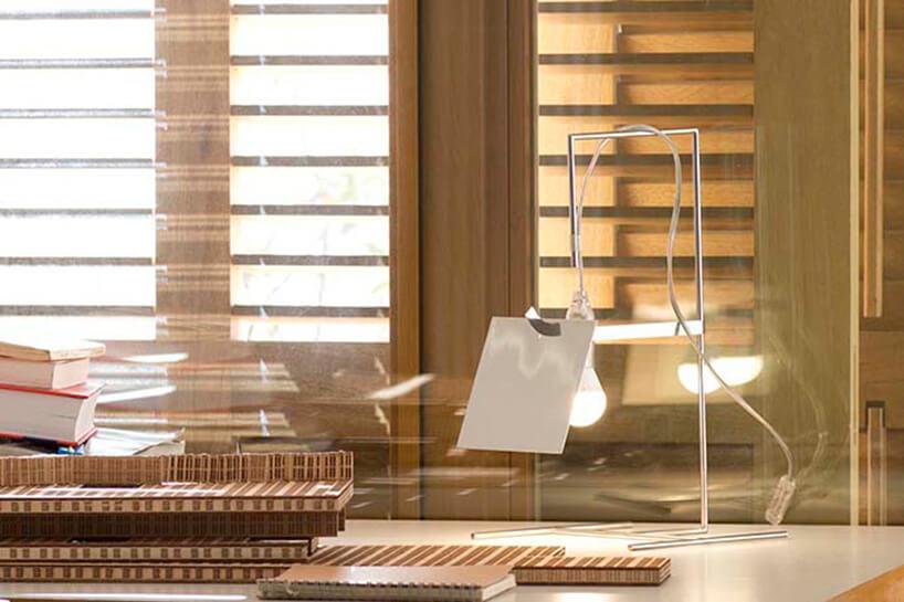 biała nieszablonowa lampka stojąca na biurku