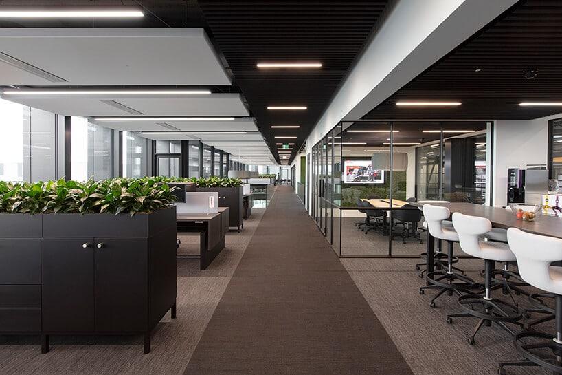 wnętrze biura zkomoda które mają zielone kwietniki przy biurkach