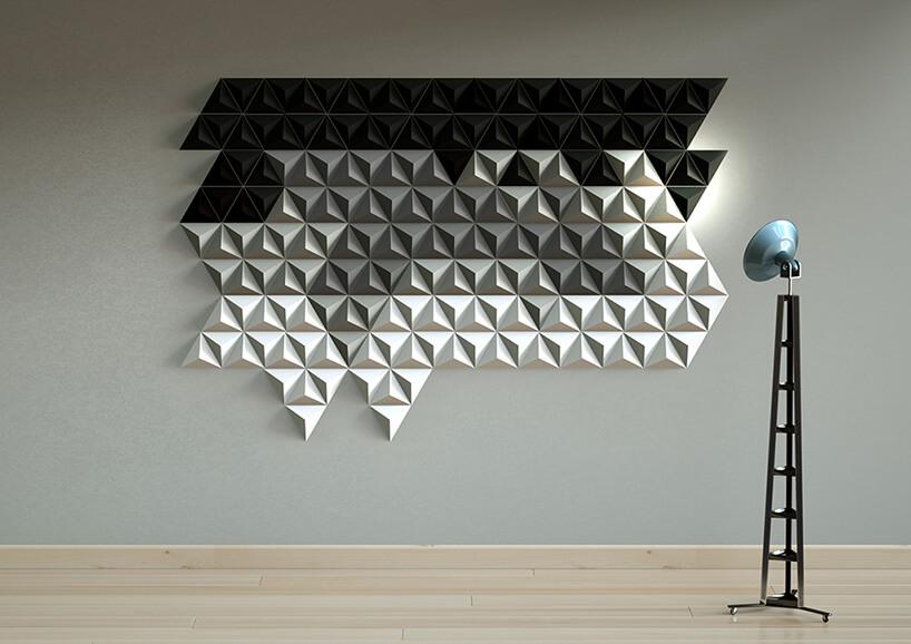 dwu kolorowe płytki 3D na ścianie