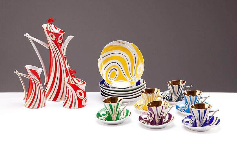 ceramiczny wzorzysty zestaw kawowy