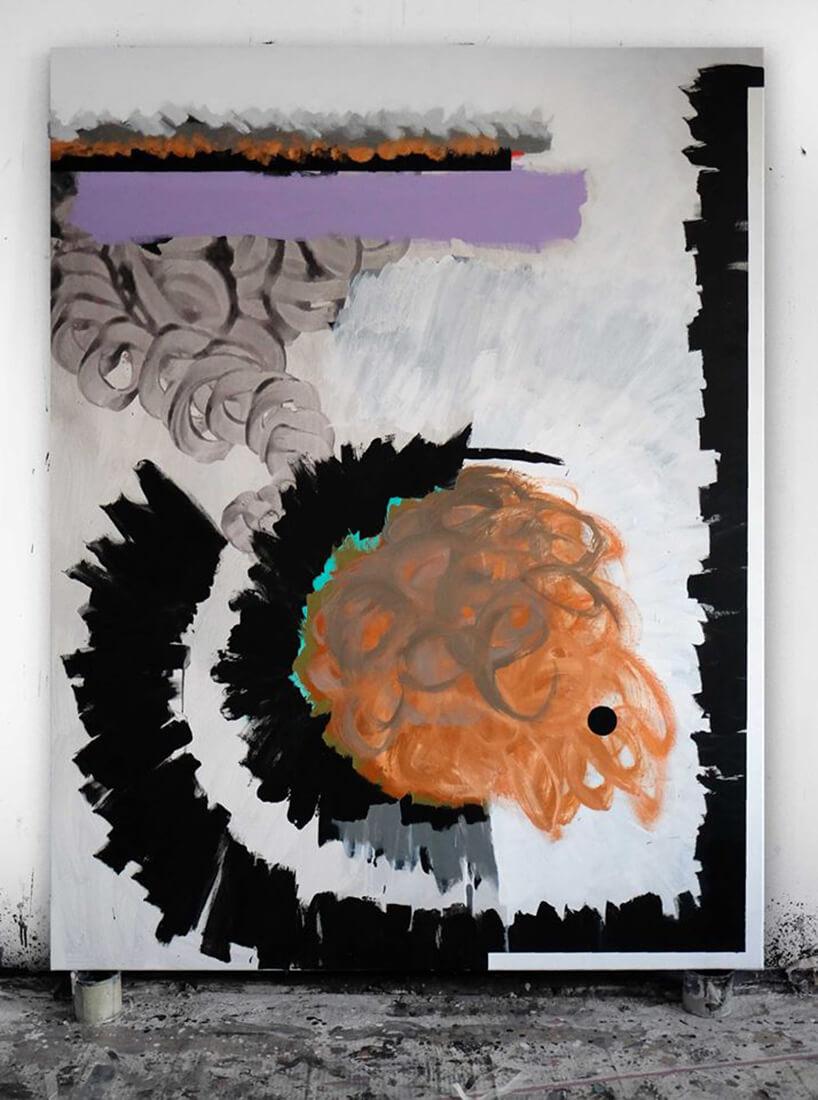 szaro czarno pomarańczowo fioletowo biały obraz Kacpra Dudka