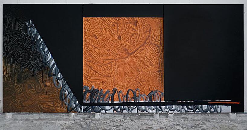 czarno pomarańczowy obraz Kacpra Dudka