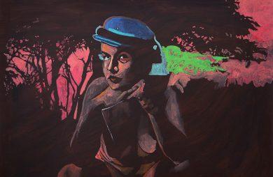 praca Antoniego Fałata siedząca postać w czapce