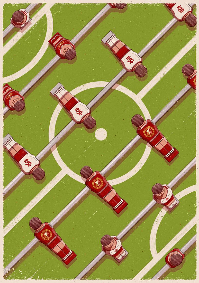 grafika piłkarzykami wkoszulkach klubowych
