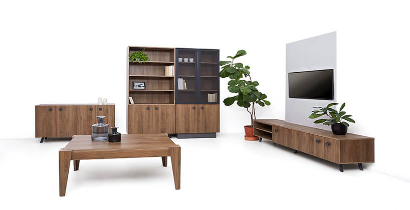 ciemne meble skrzyniowe zkolekcji Dots od Furniture Concept