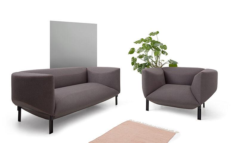 ciemna szara sofą ifotel zkolekcji Rosette od Vissiv Nord Mebel