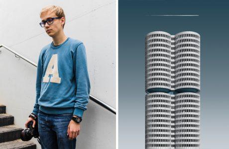 zdjęcie Aleksandra Małachowskiego w niebieskiej bluzie z literą A obok szarego zaokrąglonego wieżowca