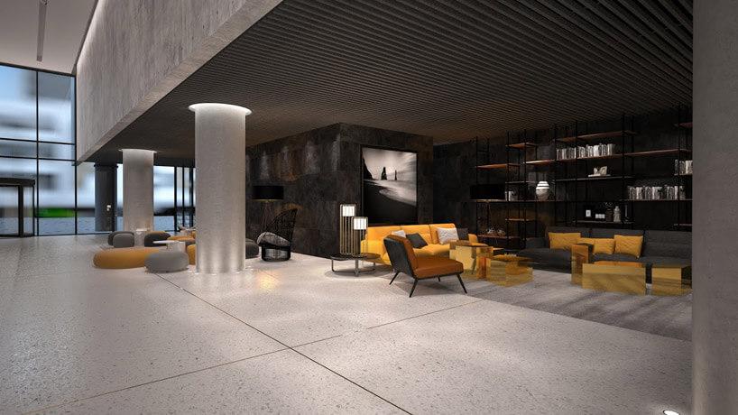 kilka foteli wkolorze żółtym obok kanapy