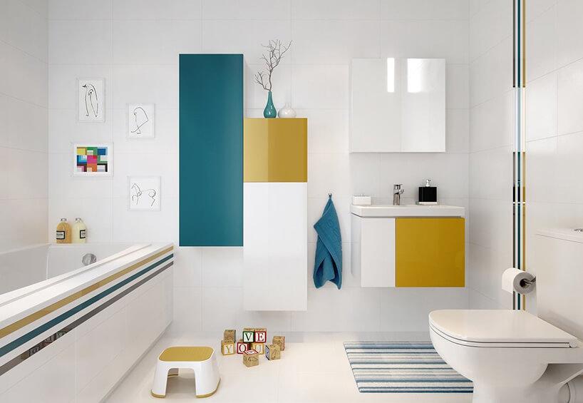 biała łazienka zżółtymi izielonymi akcentami