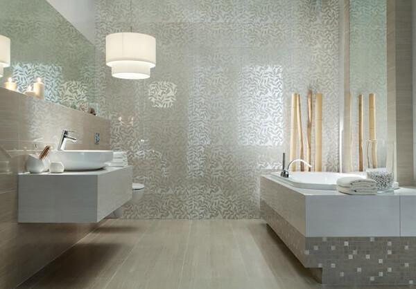 łazienka wjasnobrązowych gwiaździstych płytkach
