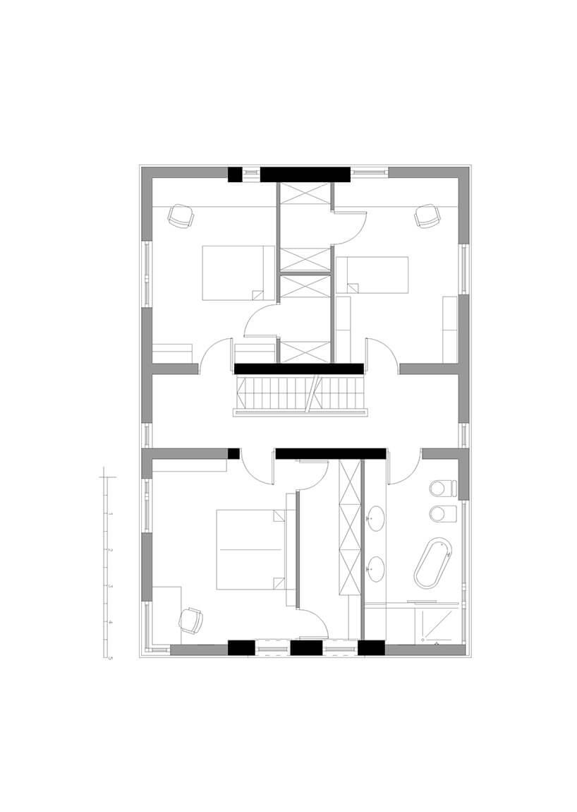 plan parteru ciekawego domu