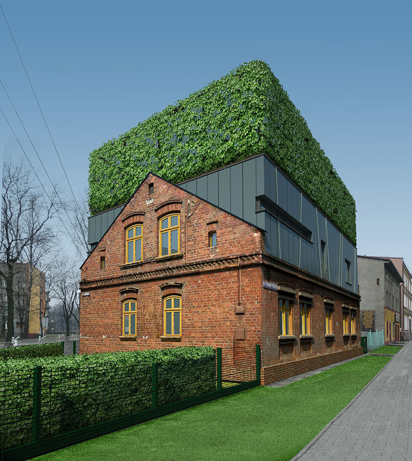 zielony trawnik zczerwonym domem zogrodem na dachu