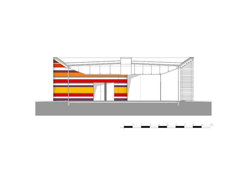 kolorowa ściana wpaski na zewnątrz budynku