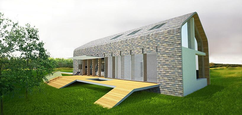 dom zzieloną soczystą trawą