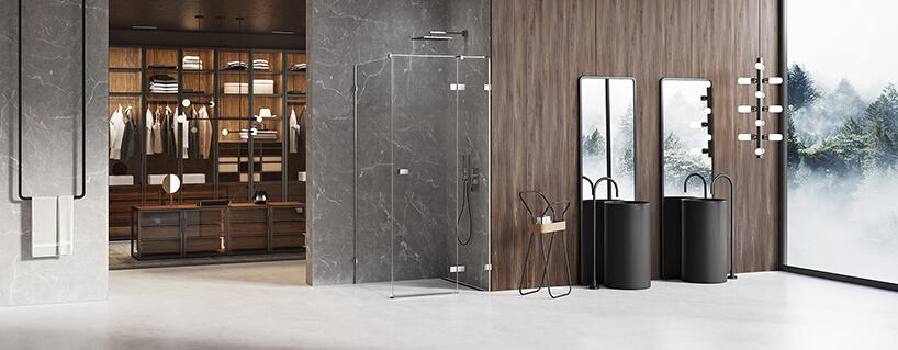 nowoczesna łazienka zbiałą podłogą zdwoma szarymi kamiennymi ścianami obok brązowej drewnianej ściany