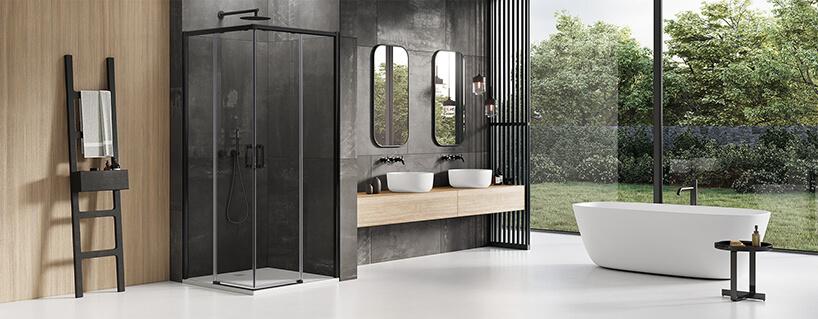 nowoczesna łazienka zbiała podłogą wpołączeniu zczarnymi ścianami obok drewnego akcentu