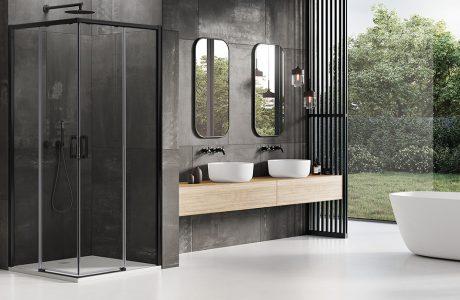 nowoczesna łazienka z biała podłogą w połączeniu z czarnymi ścianami obok drewnego akcentu