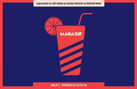 zaproszenie na stoisko MAGAZIF na Warsaw Home 2019 czerwono niebieska grafika drinka ze słomką o cytrusem