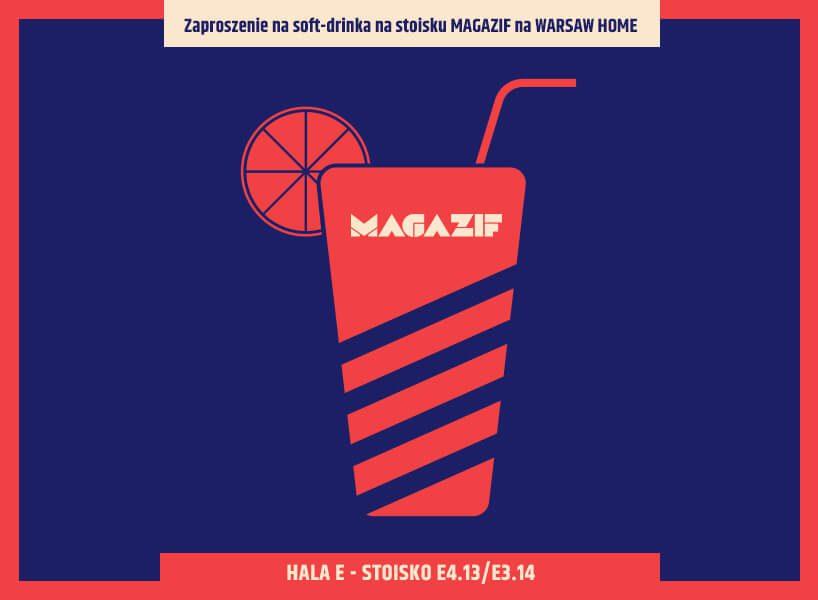 zaproszenie na stoisko MAGAZIF na Warsaw Home 2019 czerwono niebieska grafika drinka ze słomką ocytrusem