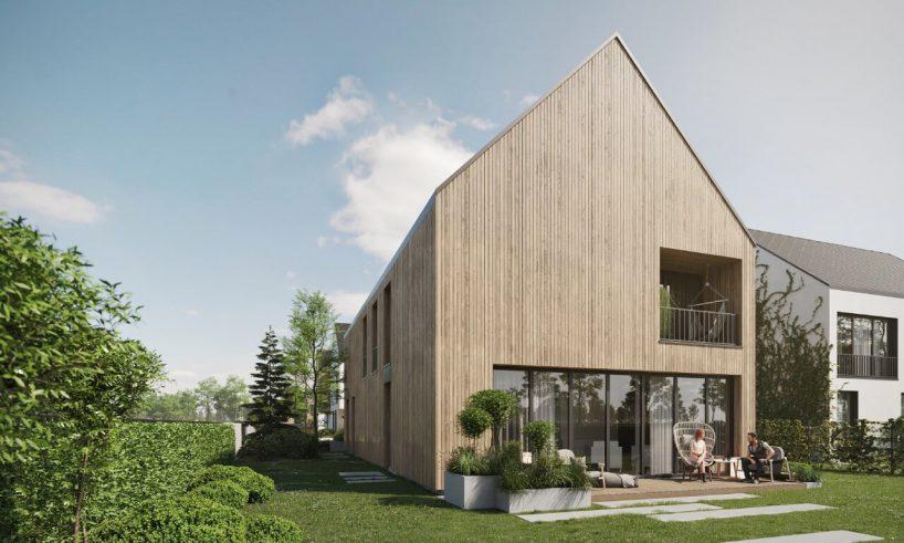 drewniana elewacja domu ztarasem