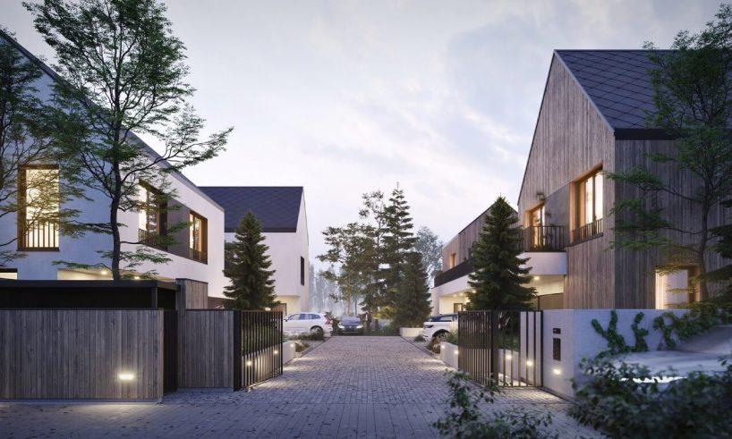 projekt osiedla domów na wilanowie patio od grupa plus architekci