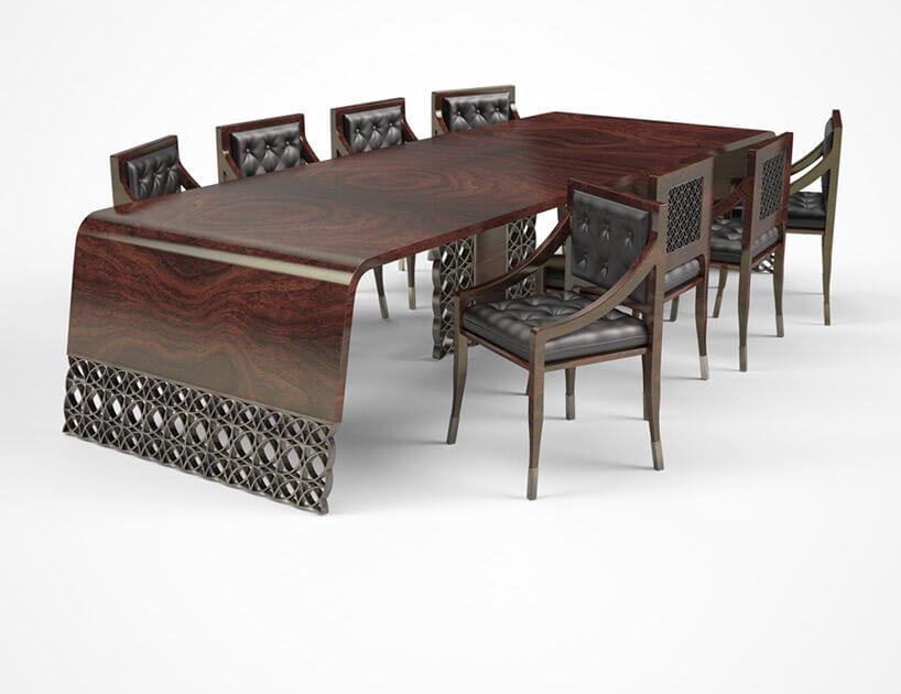 elegancki ciemno-brązowy stół znietypowym wykończenie