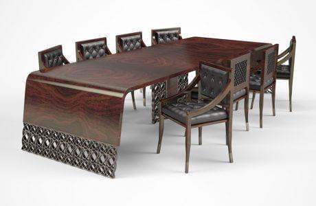 elegancki ciemno-brązowy stół z nietypowym wykończenie
