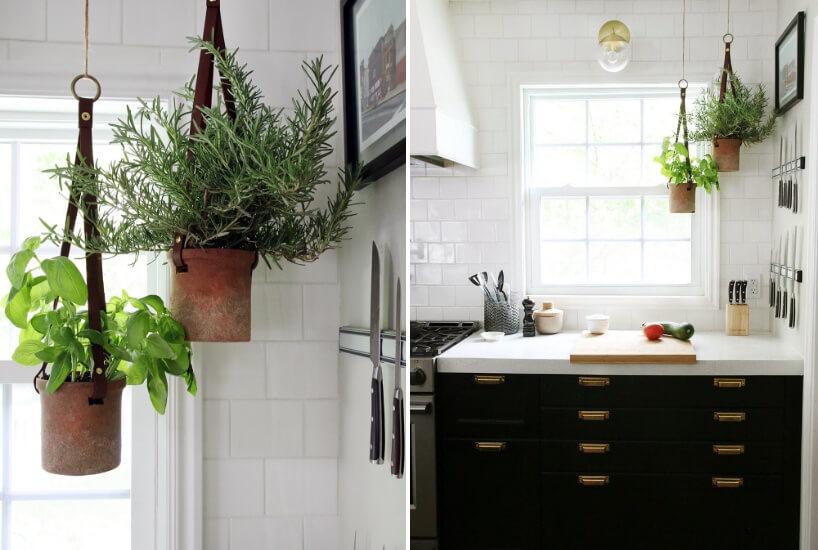 dwie kuchnie zdużymi doniczkami na zioła