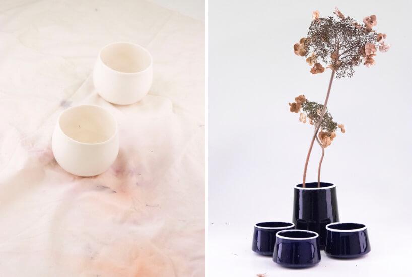 zestawienie porcelanowych doniczek na zioła wkolorze białym ifioletowym