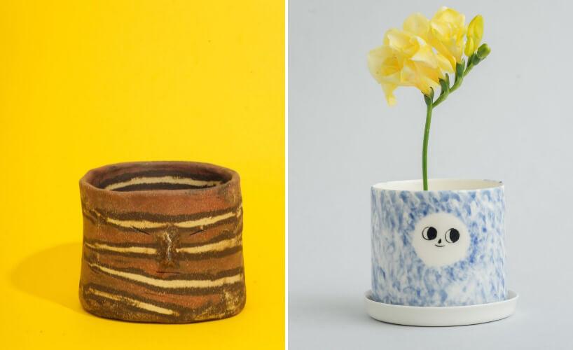 dwie porcelanowe doniczki na zioła ręcznie udekorowane