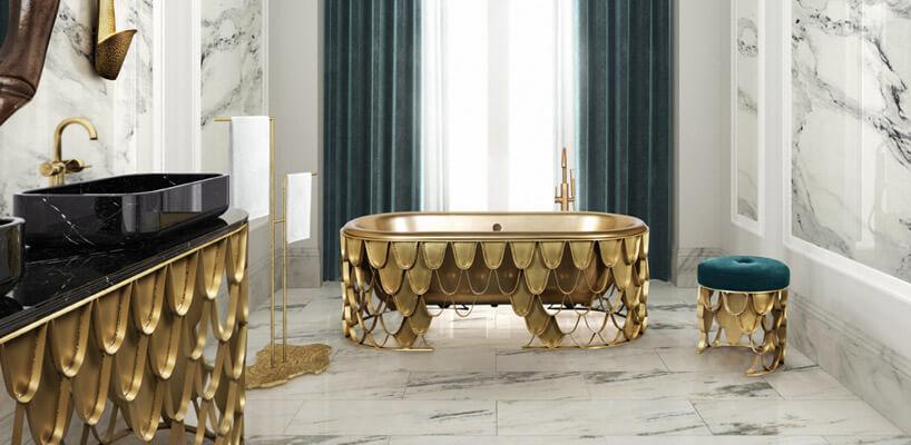 duża jasna łazienka ozdobiona motywem złotych kropli