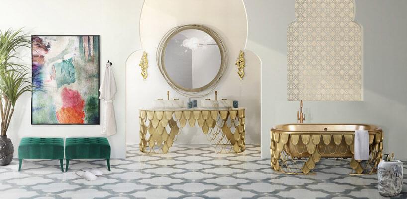 przestronna łazienka ze złotymi akcentami