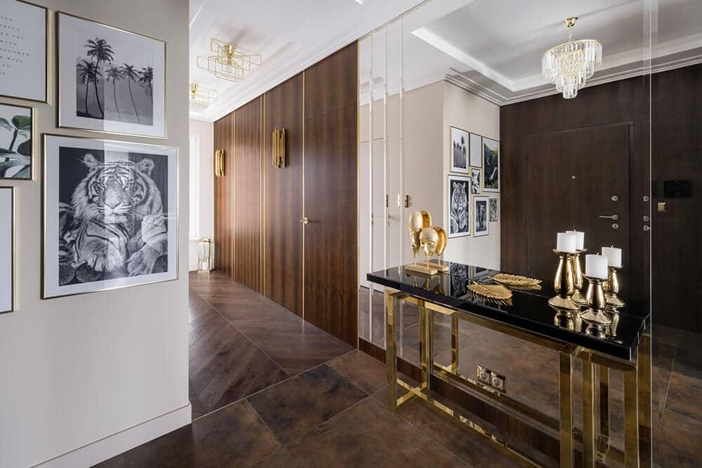 Złoto ikolory ziemi wluksusowym apartamencie