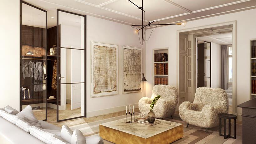 beżowy salon ze złotymi elementami
