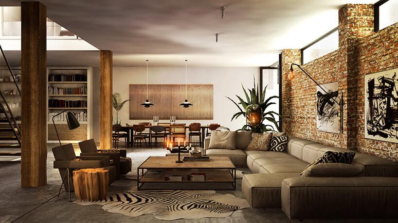 duży ekskluzywny salon zceglaną ścianą