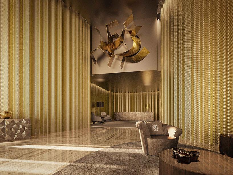 wizualizacja salonu wciemny beżu ze złotymi firanami