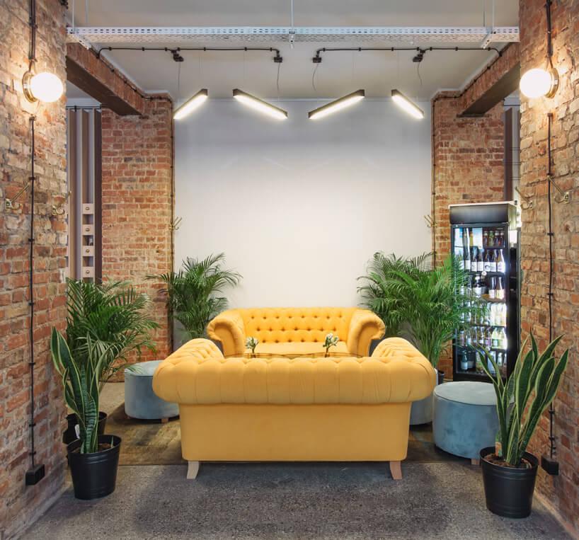 duża wygodna żółta kanapa wzczterema roślinami