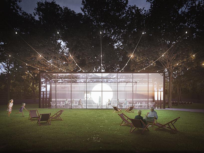 nowoczesny projekt restauracji wparku PRZESTRZEŃ + PEŁNIA od pracowni ZNAMY SIĘ widok od przeszklonego frontu