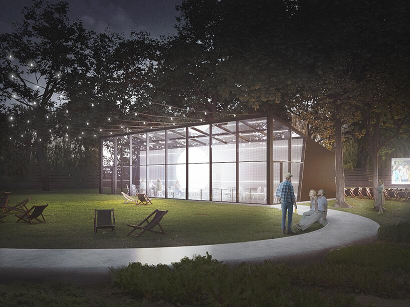 nowoczesny projekt restauracji wparku PRZESTRZEŃ + PEŁNIA od pracowni ZNAMY SIĘ widok od strony alejki