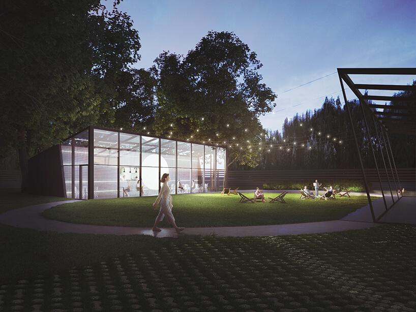 nowoczesny projekt restauracji wparku PRZESTRZEŃ + PEŁNIA od pracowni ZNAMY SIĘ widok przeszklonego frontu zdaleka