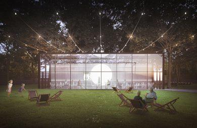 nowoczesny projekt restauracji w parku PRZESTRZEŃ + PEŁNIA od pracowni ZNAMY SIĘ widok od przeszklonego frontu